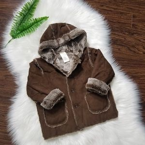 Faux Fur Faux Suede Toddler Jacket 18/24